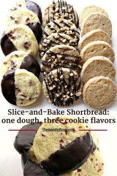 Slice-and-Bake Shortbread: one dough, three cookie flavors- Cranberry Orange, Cinnamon Brown Sugar, and Espresso Toffee   The Monday Box