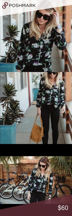 Anthropologie Isla Maude Rayne Floral Pajama Top Worn once, brand new condition. Anthropologie Tops Button Down Shirts