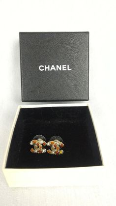 100% Authentic CHANEL CC Logo Crystal Earrings Multi-color Small With Box #CHANEL #CCLogoEarrings