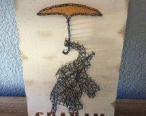 Olifant string kunst met aangepaste kwekerij safari decor, kunst aan de 3D-muur, aangepaste babynaam, tekenreeks en nail art,…