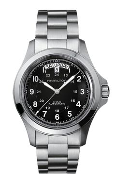 The Hamilton Khaki Field King Auto takes the traditional Hamilton tool watch and gives it a chic new look with its brushed steel case.
