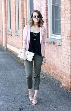 Make It Work, black top, pink cardigan, olive cropped jeans, pink sandals byPenny Pincher Fashion Pink Top Outfit, Blush Outfit, Outfit Ideas, Outfit Work, Work Attire, Rosa Blazer Outfits, Outfits Otoño, Cardigan Outfits, Autumn