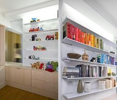 In this one-bedroom Brooklyn apartment, Normal Projects|Architecture created a nursery by using a partition made of laser-cut steel shelves. Library shelving is located on one side; nursery display on the other