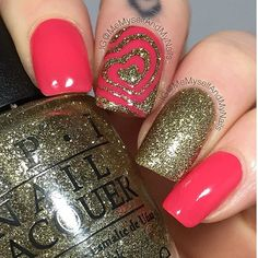 Pink and gold and perfect! Gorgeous heart swirl accent mani by @memyselfandmynails! Love it! - Heart Swirl Nail Vinyls found at snailvinyls.com