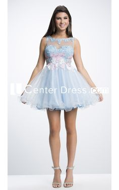 $115.29-Elegant Appliqued Sleeveless Jewel-Neck Short/Mini Tulle Light Blue Homecoming Dress Short. http://www.ucenterdress.com/a-line-appliqued-sleeveless-jewel-neck-short/mini-tulle-prom-dress-with-ruffles-pMK_304031.html.  Great homecoming find up to 50% off! Free Shipping. Follow us, you will find many stylish cheap homecoming dresses under $100. We have more inexpensive homecoming dress, vintage, unique, tight, elegant homecoming dresses for teens, freshman, curvy girls. #homecoming
