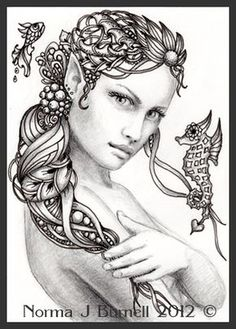 Advanced Mermaid Coloring Pages - Bing images Fairy Coloring Pages, Adult Coloring Book Pages, Printable Coloring Pages, Coloring Books, Fairy Drawings, Mermaid Drawings, Mermaid Coloring, Colorful Pictures, Sword And Sorcery