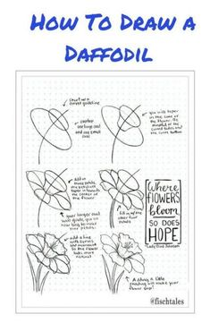Flower Drawing Learn How To Draw a Daffodil Drawing Tutorial printable Drawing Techniques, Drawing Tips, Drawing Sketches, Drawing Ideas, Doodle Drawings, Doodle Art, Easy Drawings, Doodle Inspiration, Bullet Journal Inspiration