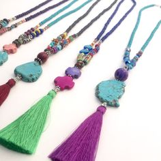 Festival Jewelry Tassel Necklace Beaded Turquoise por BohoCircus