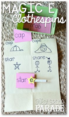 "The First Grade Parade: Long Vowels & Place Value ~ I found a pack of self adhesive foam stars at WalMart.  I labeled each one with an ""e"" and then adhered it to a clothespin.  Then you just take the magic e clothespin and ""clip"" CVC words to create CVCe words!  The kids LOVE this activity!"