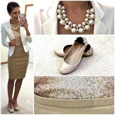 Hello, Gorgeous!: Neutrals, pearls, & sequins.