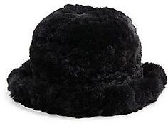 €311, Sombrero de Piel Negro de La Fiorentina. De Off 5th. Detalles: https://lookastic.com/women/shop_items/141146/redirect