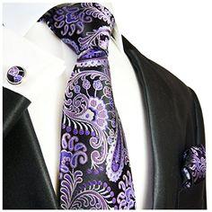 Extra Long Purple and Black Paisley Necktie Set  http://www.yourneckties.com/extra-long-purple-and-black-paisley-necktie-set-2/