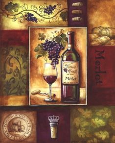 Valley Wine II ~ Fine-Art Print - Merlot Art Prints and Posters - Alcohol Pictures Wein Poster, Red Wine Stains, Wine Painting, Cafe Art, Wine Decor, Vintage Wine, In Vino Veritas, Decoupage Paper, Italian Art