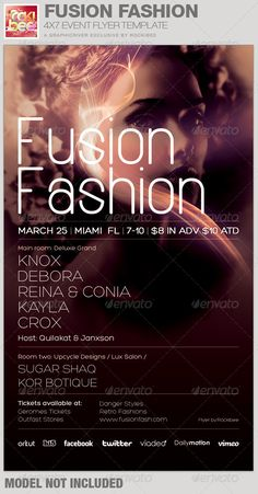 This Fusion Fashion Event Flyer Template is sold exclusively on graphicriver, it can be used for your Fashion Shows, Birthday Parties, Music/Club Events or for any other marketing projects. The files are easy to modify, change colors, dimensions and all text are editable.