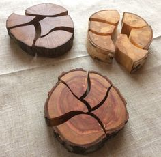 3 Unique Natural Wood Puzzles,Natural Wooden Slice Puzzle,Handmade Natural Wood Unique Wooden Puzzle, Oak, Birch and Plum Tree Wooden Puzzle Puzzles Für Kinder, Wooden Slices, Puzzles For Toddlers, Wood Joinery, Natural Toys, Waldorf Toys, Diy Holz, Montessori Toys, Wooden Puzzles