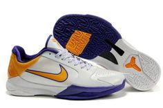 Ken Griffey Shoes Nike Zoom Kobe 5 White Metallic Gold Varsity Purple [Nike Zoom Kobe 5 - White leather upper with perforations on the forefoot. The shoe is accented with varsity purple and metallic gold. The white shoe laces is showed with purple dots Nike Zoom Kobe, Nike Foamposite, Purple Nikes, Foam Posites, White Shoes, White Leather, Air Jordans, Nike Air, Sneakers Nike