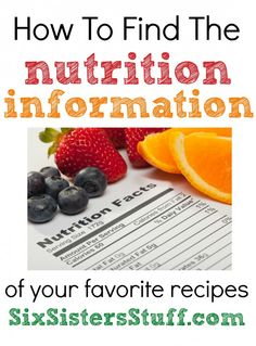 How to find the nutrition information of your favorite recipes from SixSistersStuff.com