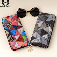 0a2aef10db21 wenjie brother lady stitching Zip Wallet long hand bag ladies fashion tide  PU Leather women s Wallet clutch bag long wallet