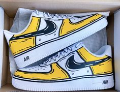 Zapatillas Nike Air Force, Nike Af1, Zapatos Nike Air, Nike Air Shoes, Custom Sneakers, Custom Shoes, Nike Cartoon, Painted Shoes, Painted Sneakers