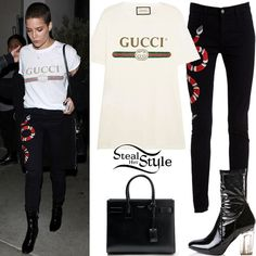 Halsey was spotted leaving Catch LA in West Hollywood yesterday wearing a Logo Print T-Shirt ($333.00) and Snake Embroidered Skinny Jeans ($770.00) both by Gucci, a Saint Laurent Sac De Jour Baby Bag ($2,750.00) and Dolls Kill Midnight Saturn Boots ($48.00). You can find similar jeans for less at Nasty Gal ($128.00).