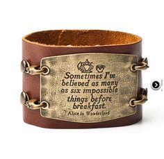 Alice in Wonderland Leather Cuff Bracelet