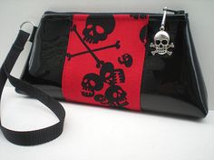 Black Skull Purse Red and Black Gothic by VelvetBitchOriginals
