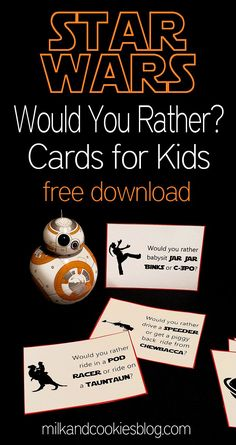 Star Wars themed Would You Rather? cards for kids. Free download!