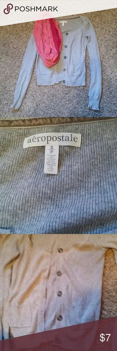 Aeropostale size S button up cardigan Aeropostale size S button up cardigan. Sweater contains 2 front pockets. Some pullies/wear and tear. Price reflected. Aeropostale Sweaters Cardigans