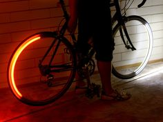 Revolights. Two thin profile LED rings (white in front, red in back) that mount directly to each wheel rim (just below the brake calipers).