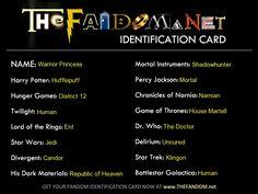 My fandom card. 50 questions