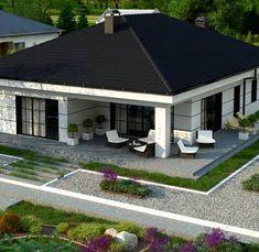 Z443 to wyjątkowy dom z kategorii projekty domów do 130 m2 Modern Bungalow House Design, Modern Bungalow Exterior, House Roof Design, Narrow House Designs, House Outside Design, Bungalow House Plans, Dream House Exterior, Facade House, 3d House Plans