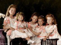 The Romanov children, Olga, Alexei, Tatiana, Maria and Anastasia