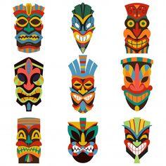 Tribal Tiki Mask Vector Set Isolated On White Background. Tribal tiki mask vector set isolated on . African Masks, African Art, African Design, Tiki Maske, Tiki Head, Tiki Statues, Art Du Monde, Tiki Totem, Tiki Art