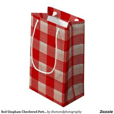 Red Gingham Checkered Pattern Burlap Look Small Gift Bag