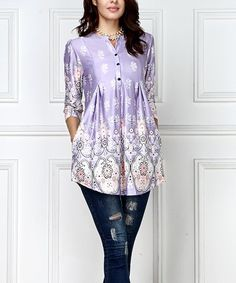 This Lavender Floral Button-Front Side-Pocket Tunic - Plus Too is perfect! #zulilyfinds