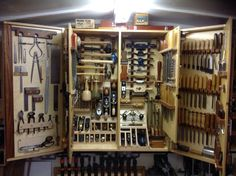 Folding lockable tool wall tools are grouped and divided into ...