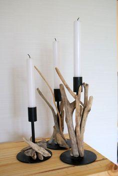Driftwood candlesticks Bougeoirs ikea customisés avec du bois flotté