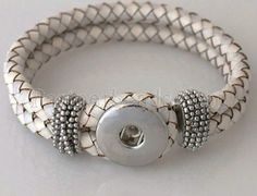 $10 - 1 PC Woven Light Gray Genuine Leather Double Strap Braided Bracelet for Snap It Chunk Charms
