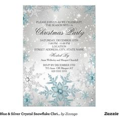 Blue Silver Crystal Snowflake Christmas Party Card ($2.05) ❤ liked on Polyvore featuring home, home decor and stationery