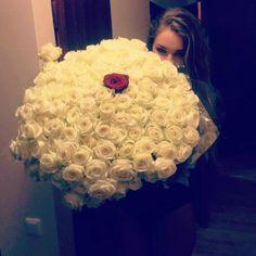 Rosas Blancas y Rosa Roja