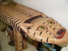 wood carved cat | Lot 138 :: Carved wood Indonesian Cat Bench (2)