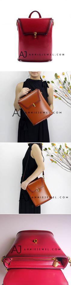 GENUINE LEATHER HANDBAG BACKPACK BAG VINTAGE BUCKET BAG CROSSBODY SHOULDER BAG PURSE FOR GIRLS WOMEN