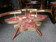 1950′s Vintage Jigsaw Table that sits on the corner of a large table & acts as a bar! Genius!!   Pelican Decor