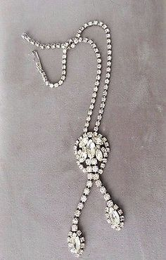 "Vintage Rhinestone Necklace Wedding Evening Teardrop Choker 14"""