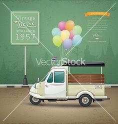 Vintage motor-tricycle tuk tuk  car vector by Sarunyu_foto on VectorStock®