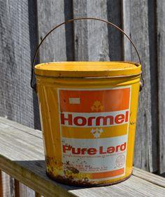 Hormel Pure Lard Pail Bucket Vintage Rustic Rusty by WVpickin