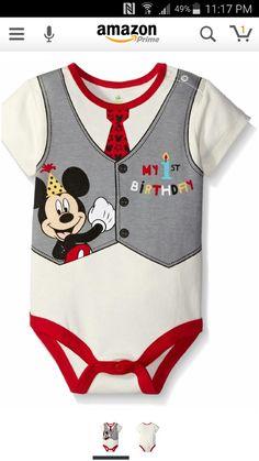 bdfcd867287b Disney Baby-Boys Mickey My First Birthday Creeper