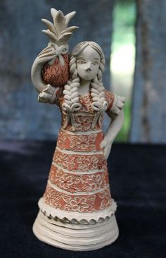 Sweet Guelaguetza Flor Pina Dancer Tuxtepec, Clay figure, Oaxaca Mexico Folk Art