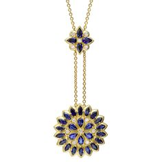 "Paul Morelli ""Appliqué"" Sapphire & Diamond Pendant Necklace"