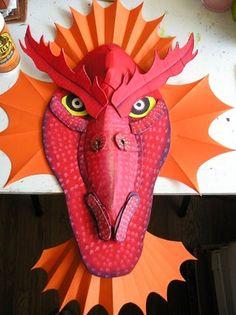 Diy Unicorn Birthday Party, Dragon Birthday, Dragon Party, Dragon Horse, Dragon Mask, Red Dragon, Easy Book Week Costumes, Dragon Project, Fire Breathing Dragon